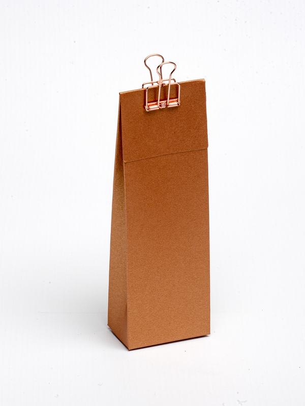 Koper hoog tasje met klep om zelf te vullen