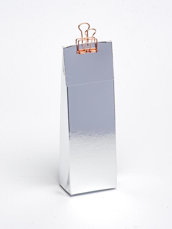 Zilver hoog tasje met klep om zelf te vullen